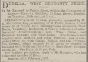 A description of the house William Mcveigh rented. Thought today to be called Dunella Lodge.
