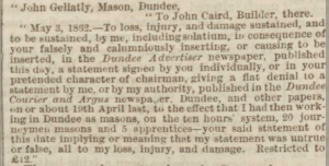 John Caird sues for libel - Dundee Advertiser, 14 May 1862