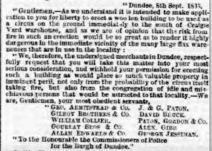 Objectors to Sangers' Circus - Dundee Advertiser, 15 September 1865