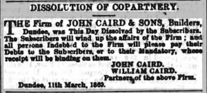 Dissolution of Copartnery - Northern Warder & General Advertiser, 12 March 1869