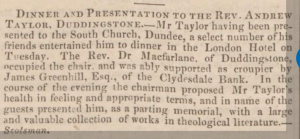 Presentation - Dundee Courier. 15 May 1850. Image©THE BRITISH LIBARY BOARD. ALL RIGHTS RESERVED
