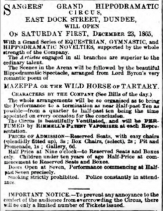 Opening Advert for Sanger's Circus - Dundee Courier, 19 December 1865