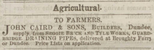 Advertisement placed by John Caird & Sons in the Dundee Courier, 29 December 1868