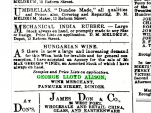 Advert from the Dundee Courier, 8 January, 1870.