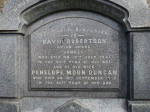 Inscription on Tablet Stone of David Robertson - 2018