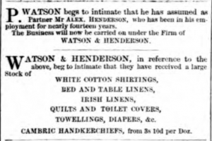 Watson & Henderson Partnership. Dundee, Perth & Cupar Advertiser. 16 March 1860. ©THE BRITISH LIBRARY BOARD. ALL RIGHTS RESERVED.