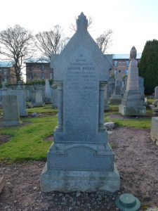 Memorial stone for Andrew Ogilvie in Western Cemetery, Dundee