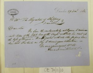 Letter regarding the loss of the Onega and her crew, 1862. Letter attached to shipping register. Photographed by Iain Flett and reproduced by kind permission of Dundee City Archives.