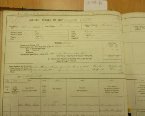 Shipping register - Akindo (left page) Details of sale of shares to George Armitstead. Photographed by Iain Flett and reproduced by kind permission of Dundee City Archives.