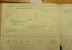 Shipping register - Ousuri (left page) Vessel owned by George Armitstead, 1863. Photographed by Iain Flett and reproduced by kind permission of Dundee City Archives.
