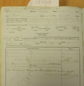 Shipping Register - Runo. Shows joint ownership by George Armitstead and Edward Baxter, 1849. Photographed by Iain Flett and reproduced by kind permission of Dundee City Archives.