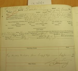 Shipping Register - Eva. Vessel wholly owned by George Armitstead, 1853. Photographed by Iain Flett and reproduced by kind permission of Dundee City Archives.