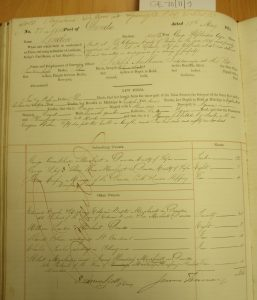 Shipping Register - London. George Armitstead listed as one of the subscribing owners along with G L Alison and Thomas Couper. Other owners include Edward Baxter. Photographed by Iain Flett and reproduced by kind permission of Dundee City Archives.