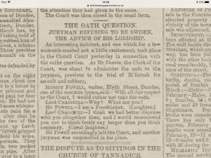 Taking an Oath. Dundee Courier and Argus. 3rd April 1882 - ©THE BRITISH LIBRARY BOARD. ALL RIGHTS RESERVED - Image accessed via ©2019Findmypast website