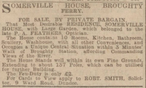 A description of Somerville House appeared (Image: Dundee Courier - Tuesday 13 September 1904. Page 1, B.N.A.)