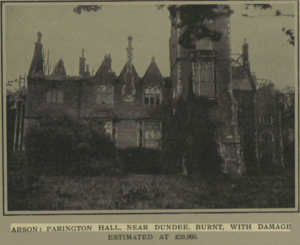 Farington Hall after a devastating fire - Illustrated London News 1913 - Image © Illustrated London News Group. The British Newspaper Archive ©2018 Findmypast
