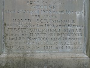 Inscription on Gravestone of David Scrimgeour - Western Cemetery, Dundee