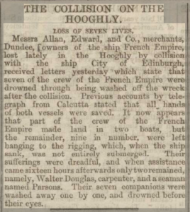 The Collision On The Hooghly - Edinburgh Evening News, 24 December 1874. Printed and published by John Wilson. Image ©2018 Findmypast © THE BRITISH LIBRARY BOARD. ALL RIGHTS RESERVED.