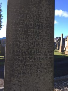 The inscription on the back of the  Headstone regarding the death of the three daughters