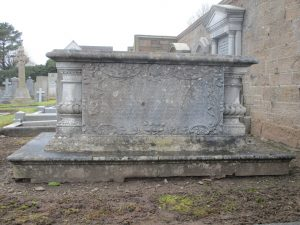 Side elevation of his tomb praising his many virtues. Photographed by ain Flett, 14 March 201