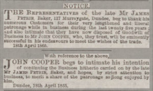 James Petrie & Successor - Dundee People's Journal, 22 April 1865. ©THE BRITISH LIBRARY BOARD. ALL RIGHTS RESERVED.