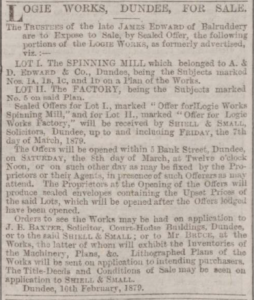 Sale of Logie Works - Dundee Courier, 1 March 1879. Image© THE BRITISH  LIBRARY BOARD. ALL RIGHTS RESERVED