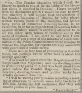 Powder Magazine Solution Sought - Letter to George Clive Esq MP - Dundee Courier, 9 March 1868 - Image © THE BRITISH LIBRARY BOARD. ALL RIGHTS RESERVED. Image accessed via ©2019 Findmypast