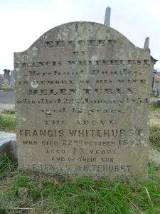 Memorial Stone for Francis Whitehurst - Western Cemetery, Perth Road, Dundee