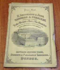 Pricelist. Lamb Collection. Box 31 (20). Local History Section, Dundee Central Library.