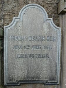 Thomas Weston Miln's memorial stone in the Western Cemetery