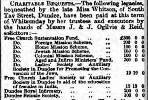 Margaret Whitson bequests - Dundee Evening Telegraph, 27 May 1881.
