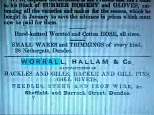 Advert, Dundee Directory, 1850. Courtesy Leisure & Culture Dundee.