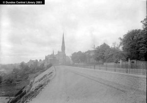 This was the main road to Perth from Dundee city centre, it now is the site of a mini bandstand, but at this date gave a clear view of the river from Airlie Place. (Wilson, Alexander, St John's Church, Perth Road, Dundee - Ref: WC2131- Photopolis http://photopolis.dundeecity.gov.uk/wc2131.htm)