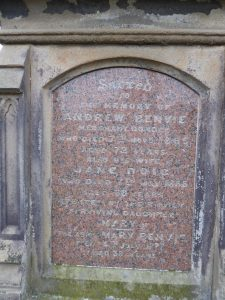 Inscription on gravestone [Personal photograph taken in Western Cemetery, Dundee]. (2018, March 22).