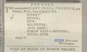 Advertisement. Dundee, Perth & Cupar Advertiser, 15 March 1844. Image accessed ©2018 Findmypast © THE BRITISH LIBRARY BOARD. ALL RIGHTS RESERVED