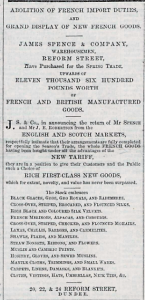Continental clothing was regularly advertised. (Image: Adverts for James Spence and Co 1860. (1860, May 5). Dundee People's Journal, p. 1. B.N.A.)