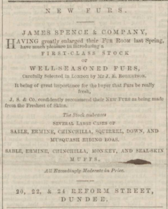 Reform Street had great competition for furs (Image: Dundee People's Journal - Saturday 15 October 1859, Page 1, B.N.A.)