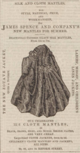 Mantles were a large part of the Spence business. (Image: Dundee People's Journal - Saturday 26 May 1860, Page 1, B.N.A.)