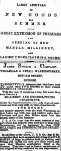 James Spence and Co advertised regularly in the local newspapers.(Image: Northern Warder and General Advertiser for the Counties of Fife, Perth and Forfar - Tuesday 22 June 1869 page 1)