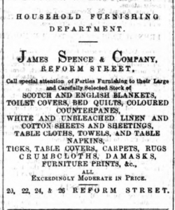 James Spence and Co continued to expand the range of goods they could supply. (Image- Dundee Courier - Tuesday 27 August 1867, Page 4)