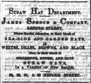 James Spence and Co took whole columns for advertising, this advert for seasonal clothing. (Image:Northern Warder and General Advertiser for the Counties of Fife, Perth and Forfar - Friday 03 July 1868 page 8.)