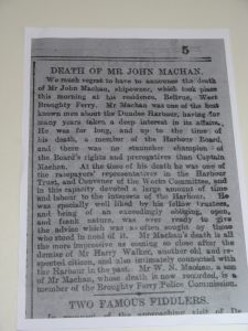John Machan Obituary. Image THE BRITISH LIBRARY BOARD. ALL RIGHTS RESERVED and image reproduced with kind permission of The British Newspaper Archive.