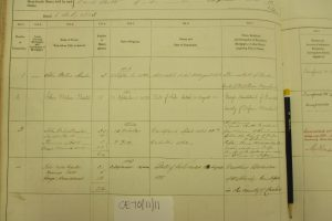 Shipping register, 1863. (left page lower) Details of ship transactions involving George Armitstead and John Miln Baxter. Photographed by Iain Flett and reproduced by kind permission of Dundee City Archives.