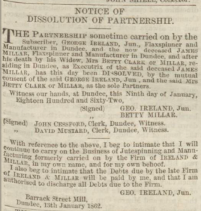 Dissolution of Partnership -  Dundee Advertiser, 14 January 1862, printed and  published by John Leng - Image ©2018 Findmypast © THE BRITISH LIBRARY BOARD. ALL RIGHTS RESERVED