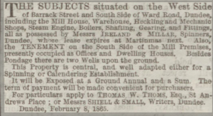 Notice of Expiry of Lease - Dundee People's Journal, 11 February 1865, printed and published by John Leng. Image ©2018 Findmypast © THE BRITISH LIBRARY BOARD. ALL RIGHTS RESERVED