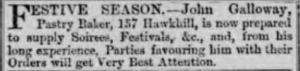 Galloway - Pastry Baker: Dundee Evening Telegraph 23-12-1879 - ©THE BRITISH LIBRARY BOARD. ALL RIGHTS RESERVED. Image accessed via ©2019Findmypast