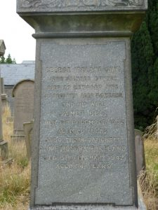 George Ireland - Gravestone in Western Cemetery (2018)