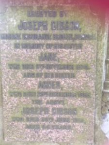 Close-up Joseph Gibson Gravestone (Image: Murray, Val, 2018)