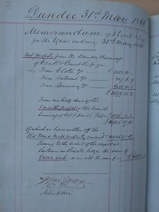 Profit & Loss 1866. Image courtesy of Don & Low and University of Dundee Archive Services