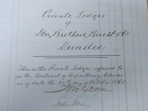 Private Ledger, Don Bros, Buist & Co.. Image courtesy of Don & Low and University of Dundee Archive Services.